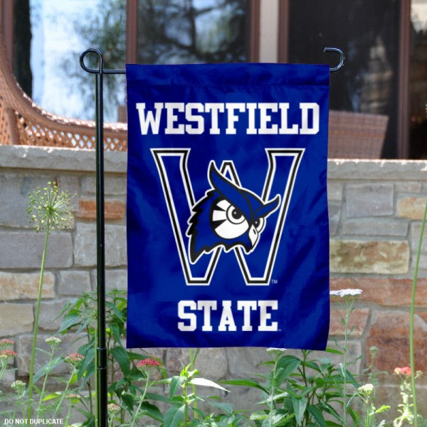 Westfield State University Garden Flag is 13x18 inches in size, is made of 2-layer polyester, screen printed university athletic logos and lettering, and is readable and viewable correctly on both sides. Available same day shipping, our Westfield State University Garden Flag is officially licensed and approved by the university and the NCAA.
