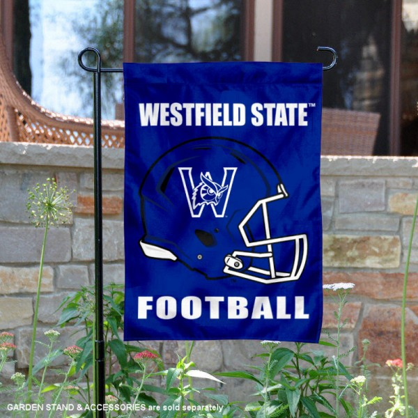Westfield State University Football Helmet Garden Banner is 13x18 inches in size, is made of 2-layer polyester, screen printed Westfield State University athletic logos and lettering. Available with Same Day Express Shipping, Our Westfield State University Football Helmet Garden Banner is officially licensed and approved by Westfield State University and the NCAA.