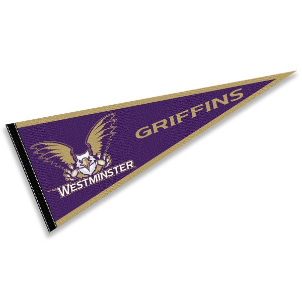Westminster College Griffins Pennant consists of our full size sports pennant which measures 12x30 inches, is constructed of felt, is single sided imprinted, and offers a pennant sleeve for insertion of a pennant stick, if desired. This Westminster College Griffins Pennant Decorations is Officially Licensed by the selected university and the NCAA.
