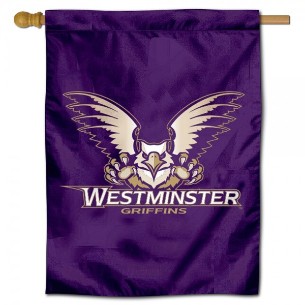 Westminster Griffins Logo Double Sided House Flag is a vertical house flag which measures 30x40 inches, is made of 2 ply 100% polyester, offers screen printed NCAA team insignias, and has a top pole sleeve to hang vertically. Our Westminster Griffins Logo Double Sided House Flag is officially licensed by the selected university and the NCAA.