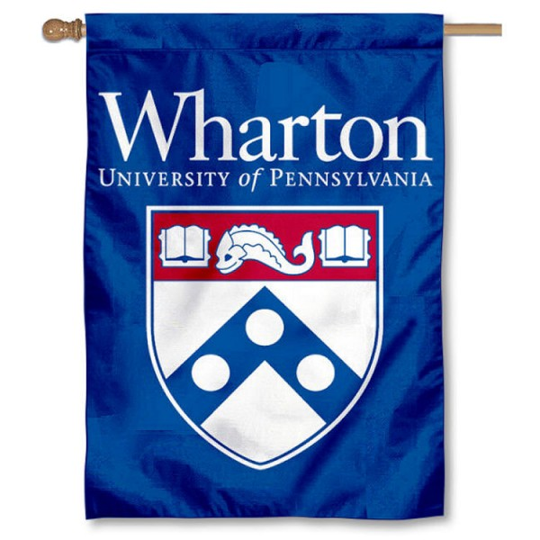 Wharton School of Penn House Banner is a vertical house flag which measures 28x40 inches, is made of 2 ply 100% nylon, offers screen printed NCAA team insignias, and has a top pole sleeve to hang vertically. Our Wharton School of Penn House Banner is officially licensed by the selected university and the NCAA.