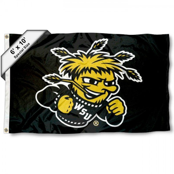 Wichita State Shockers 6'x10' Flag measures 6x10 feet, is made of thick poly, has quadruple-stitched fly ends, and Wichita State Shockers logos are screen printed into the Wichita State Shockers 6'x10' Flag. This Wichita State Shockers 6'x10' Flag is officially licensed by and the NCAA.