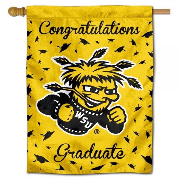 Wichita State Shockers Congratulations Graduate Flag measures 30x40 inches, is made of poly, has a top hanging sleeve, and offers dye sublimated Wichita State Shockers logos. This Decorative Wichita State Shockers Congratulations Graduate House Flag is officially licensed by the NCAA.