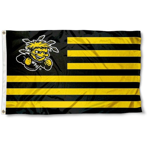 Wichita State Shockers Stripes Flag measures 3'x5', is made of polyester, offers double stitched flyends for durability, has two metal grommets, and is viewable from both sides with a reverse image on the opposite side. Our Wichita State Shockers Stripes Flag is officially licensed by the selected school university and the NCAA.