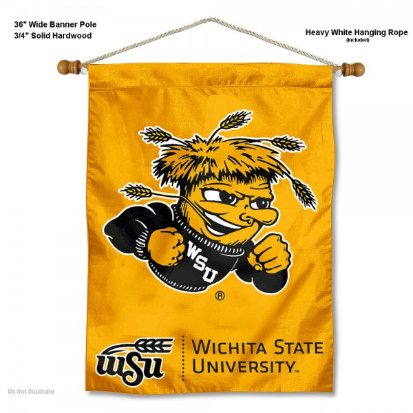 "Wichita State Shockers Wall Banner is constructed of polyester material, measures a large 30""x40"", offers screen printed athletic logos, and includes a sturdy 3/4"" diameter and 36"" wide banner pole and hanging cord. Our Wichita State Shockers Wall Banner is Officially Licensed by the selected college and NCAA."