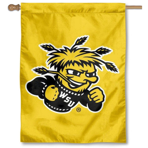 Wichita State University Banner Flag is a vertical house flag which measures 30x40 inches, is made of 2 ply 100% polyester, offers dye sublimated NCAA team insignias, and has a top pole sleeve to hang vertically. Our Wichita State University Banner Flag is officially licensed by the selected university and the NCAA.
