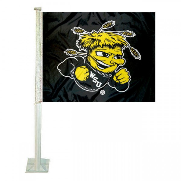 Wichita State University Car Flag measures 12x15 inches, is constructed of sturdy 2 ply polyester, and has dye sublimated school logos which are readable and viewable correctly on both sides. Wichita State University Car Flag is officially licensed by the NCAA and selected university