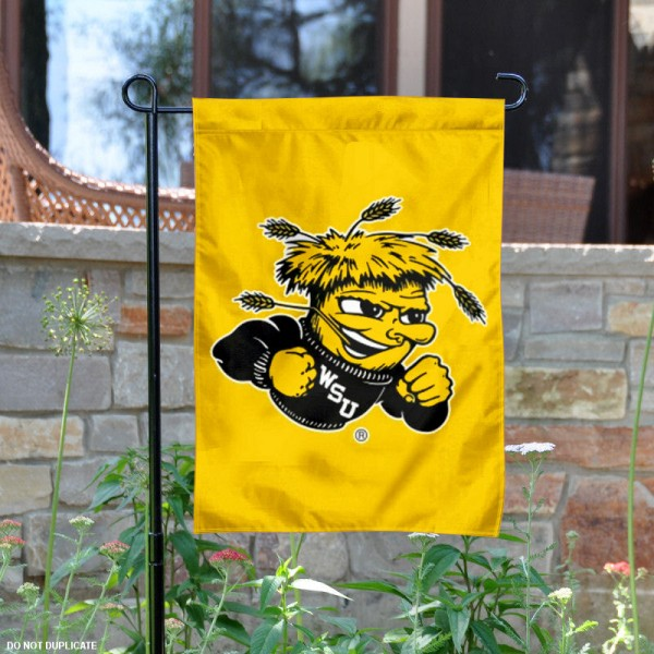 Our Wichita State University Garden Flag is 13x18 inches in size, is constructed of double sided polyester, and has screen printed University insignias and lettering. The Wichita State University Garden Flag is licensed by the selected university and garden flags are perfect for your garden, entranceway, mailbox, or window.