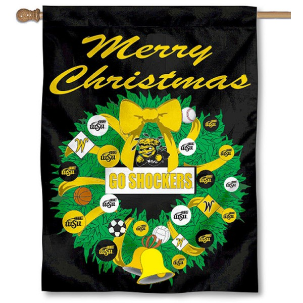 Wichita State University Holiday Flag is a decorative house flag, 30x40 inches, made of 100% polyester, Holiday NCAA team insignias, and has a top pole sleeve to hang vertically. Our Wichita State University Holiday Flag is officially licensed by the selected university and the NCAA.