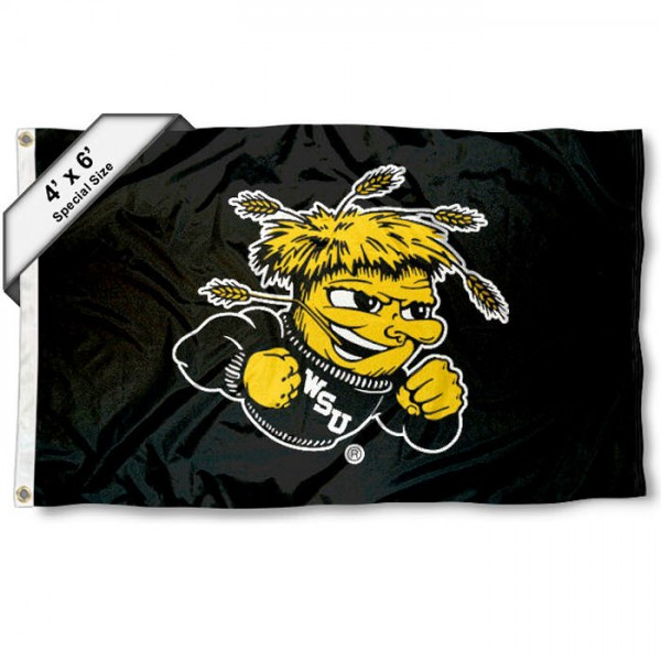 Wichita State University Shockers Large 4x6 Flag measures 4x6 feet, is made thick woven polyester, has quadruple stitched flyends, two metal grommets, and offers screen printed NCAA Wichita State University Shockers Large athletic logos and insignias. Our Wichita State University Shockers Large 4x6 Flag is officially licensed by Wichita State University Shockers and the NCAA.