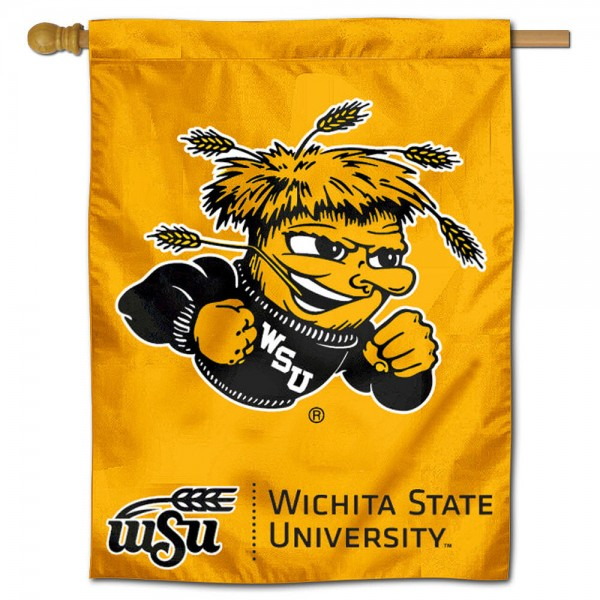 "Wichita State University Shockers House Flag is constructed of polyester material, is a vertical house flag, measures 30""x40"", offers screen printed athletic insignias, and has a top pole sleeve to hang vertically. Our Wichita State University Shockers House Flag is Officially Licensed by Wichita State University Shockers and NCAA."