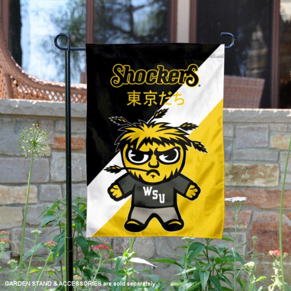 Wichita State University Tokyodachi Mascot Yard Flag is 13x18 inches in size, is made of double layer polyester, screen printed university athletic logos and lettering, and is readable and viewable correctly on both sides. Available same day shipping, our Wichita State University Tokyodachi Mascot Yard Flag is officially licensed and approved by the university and the NCAA.