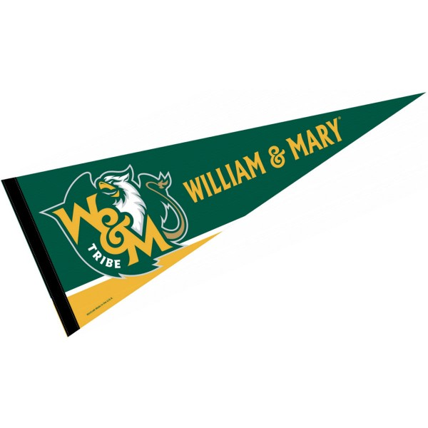 William and Mary Decorations consists of our full size pennant which measures 12x30 inches, is constructed of felt, is single sided imprinted, and offers a pennant sleeve for insertion of a pennant stick, if desired. This William and Mary Decorations is officially licensed by the selected university and the NCAA.
