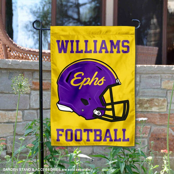 Williams College Ephs Helmet Yard Garden Flag is 13x18 inches in size, is made of 2-layer polyester with Liner, screen printed university athletic logos and lettering, and is readable and viewable correctly on both sides. Available same day shipping, our Williams College Ephs Helmet Yard Garden Flag is officially licensed and approved by the university and the NCAA.