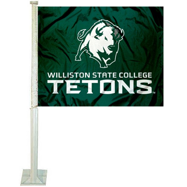 Williston State Tetons Car Window Flag measures 12x15 inches, is constructed of sturdy 2 ply polyester, and has screen printed school logos which are readable and viewable correctly on both sides. Williston State Tetons Car Window Flag is officially licensed by the NCAA and selected university.