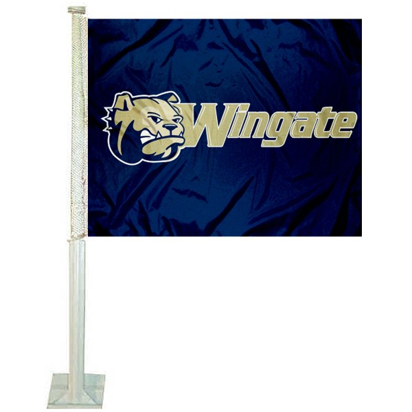 Wingate Bulldogs Car Flag measures 12x15 inches, is constructed of sturdy 2 ply polyester, and has screen printed school logos which are readable and viewable correctly on both sides. Wingate Bulldogs Car Flag is officially licensed by the NCAA and selected university.