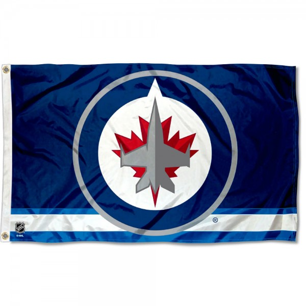The Winnipeg Jets Flag is four-stitched bordered, double sided, made of poly, 3'x5', and has two grommets. These Winnipeg Jets Flags are NHL Genuine Merchandise.