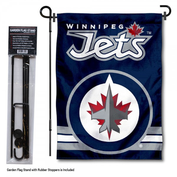 "Winnipeg Jets Garden Flag and Flagpole Stand kit includes our 12.5""x18"" garden banner which is made of 2 ply poly with liner and has screen printed licensed logos. Also, a 40""x17"" inch garden flag stand is included so your Winnipeg Jets Garden Flag and Flagpole Stand is ready to be displayed with no tools needed for setup. Fast Overnight Shipping is offered and the flag is Officially Licensed and Approved by the selected team."