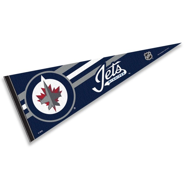 Winnipeg Jets NHL Pennant is our full size 12x30 inch pennant which is made of felt, is single sided screen printed, and is perfect for decorating at home or office. Display your NHL hockey allegiance with this NHL Genuine Merchandise item.