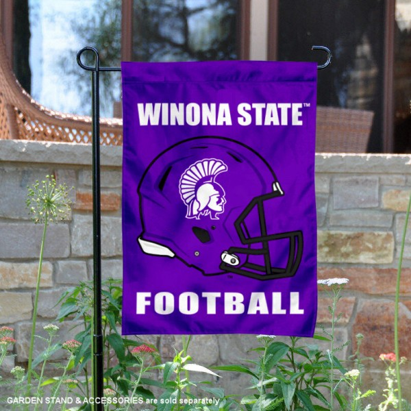 Winona State University Football Helmet Garden Banner is 13x18 inches in size, is made of 2-layer polyester, screen printed Winona State University athletic logos and lettering. Available with Same Day Express Shipping, Our Winona State University Football Helmet Garden Banner is officially licensed and approved by Winona State University and the NCAA.