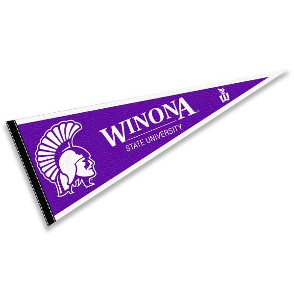 Winona State University Warriors Pennant consists of our full size sports pennant which measures 12x30 inches, is constructed of felt, is single sided imprinted, and offers a pennant sleeve for insertion of a pennant stick, if desired. This Winona State University Warriors Pennant Decorations is Officially Licensed by the selected university and the NCAA.