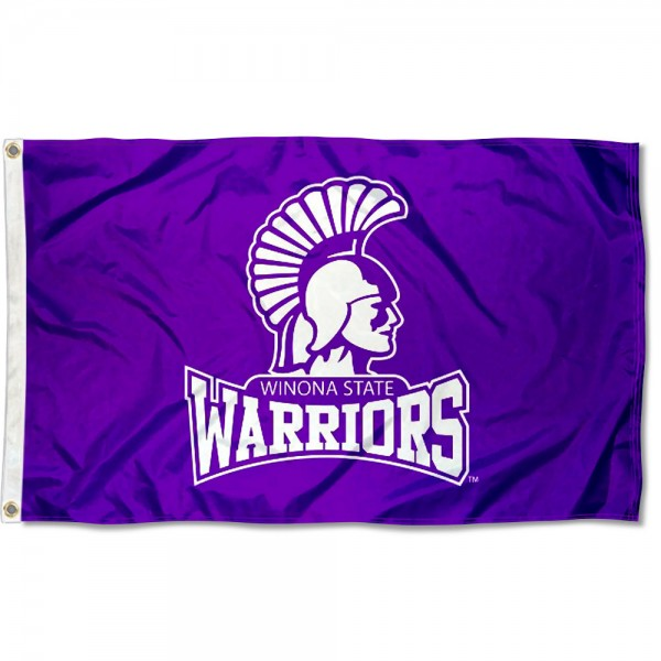 Winona State Warriors Flag measures 3x5 feet, is made of 100% polyester, offers quadruple stitched flyends, has two metal grommets, and offers screen printed NCAA team logos and insignias. Our Winona State Warriors Flag is officially licensed by the selected university and NCAA.