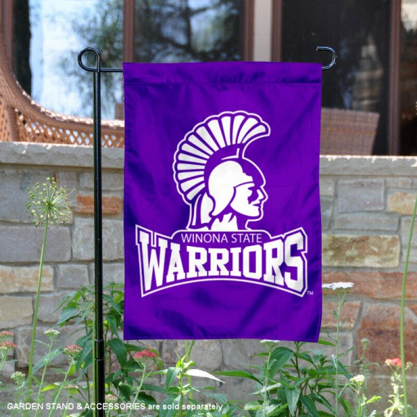 Winona State Warriors Garden Flag is 13x18 inches in size, is made of 2-layer polyester, screen printed university athletic logos and lettering, and is readable and viewable correctly on both sides. Available same day shipping, our Winona State Warriors Garden Flag is officially licensed and approved by the university and the NCAA.