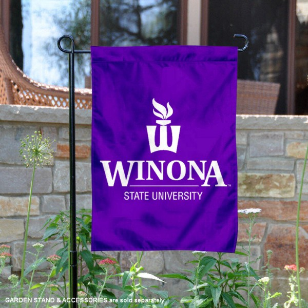 Winona State Warriors Wordmark Logo Garden Flag is 13x18 inches in size, is made of 2-layer polyester, screen printed university athletic logos and lettering, and is readable and viewable correctly on both sides. Available same day shipping, our Winona State Warriors Wordmark Logo Garden Flag is officially licensed and approved by the university and the NCAA.