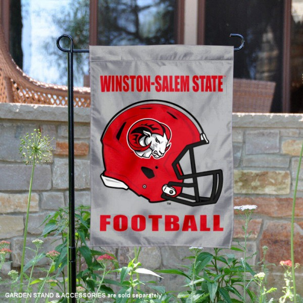 Winston Salem State University Football Helmet Garden Banner is 13x18 inches in size, is made of 2-layer polyester, screen printed Winston Salem State University athletic logos and lettering. Available with Same Day Express Shipping, Our Winston Salem State University Football Helmet Garden Banner is officially licensed and approved by Winston Salem State University and the NCAA.
