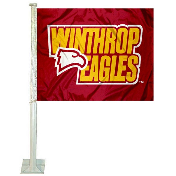Winthrop University Car Window Flag measures 12x15 inches, is constructed of sturdy 2 ply polyester, and has dye sublimated school logos which are readable and viewable correctly on both sides. Winthrop University Car Window Flag is officially licensed by the NCAA and selected university.