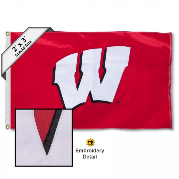 Wisconsin Badger Small 2'x3' Flag measures 2x3 feet, is made of 100% nylon, offers quadruple stitched flyends, has two brass grommets, and offers embroidered UW Badgers logos and insignias. Our Wisconsin Badger Small 2'x3' Flag is officially licensed by the selected university.