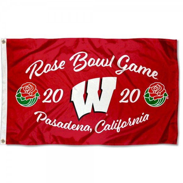 Wisconsin Badgers 2020 Rose Bowl Game Flag measures 3x5 feet, is made of 100% polyester, offers quadruple stitched flyends, has two metal grommets, and offers screen printed NCAA team logos and insignias. Our Wisconsin Badgers 2020 Rose Bowl Game Flag is officially licensed by the selected university and NCAA.