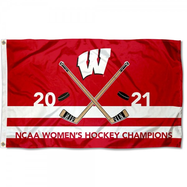Wisconsin Badgers 2021 Womens Hockey National Champions Flag measures 3x5 feet, is made of 100% polyester, offers quadruple stitched flyends, has two metal grommets, and offers screen printed NCAA team logos and insignias. Our Wisconsin Badgers 2021 Womens Hockey National Champions Flag is officially licensed by the selected university and NCAA.