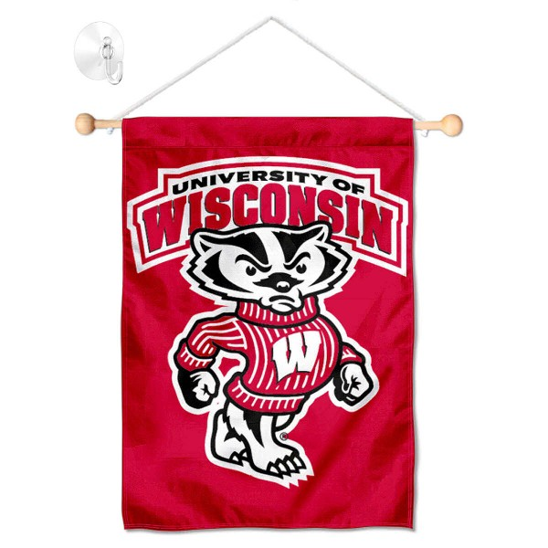Wisconsin Badgers Banner with Suction Cup