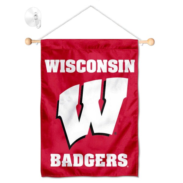 """Wisconsin Badgers Banner with Suction Cup kit includes our 13""""x18"""" garden banner which is made of 2 ply poly with liner and has screen printed licensed logos. Also, a 17"""" wide banner pole with suction cup is included so your Wisconsin Badgers Banner with Suction Cup is ready to be displayed with no tools needed for setup. Fast Overnight Shipping is offered and the flag is Officially Licensed and Approved by the selected team."""