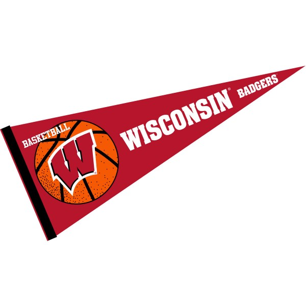 Wisconsin Badgers Basketball Pennant consists of our full size sports pennant which measures 12x30 inches, is constructed of felt, is single sided imprinted, and offers a pennant sleeve for insertion of a pennant stick, if desired. This Wisconsin Badgers Pennant Decorations is Officially Licensed by the selected university and the NCAA.