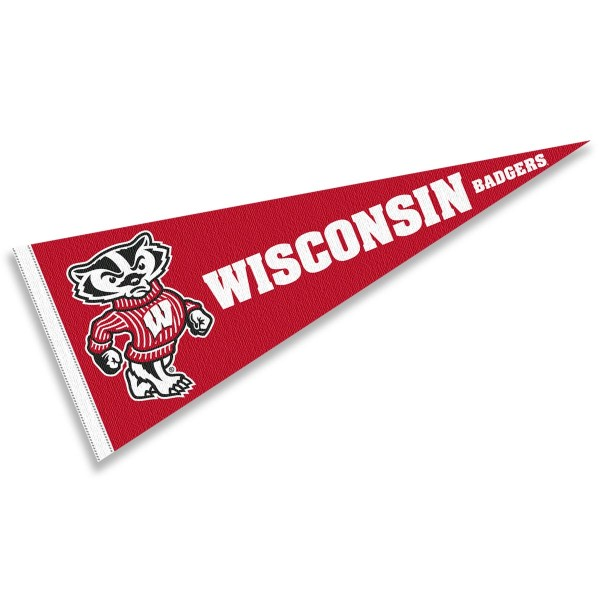 Wisconsin Badgers Bucky Badger Pennant consists of our full size sports pennant which measures 12x30 inches, is constructed of felt, is single sided imprinted, and offers a pennant sleeve for insertion of a pennant stick, if desired. This Wisconsin Badgers Pennant Decorations is Officially Licensed by the selected university and the NCAA.