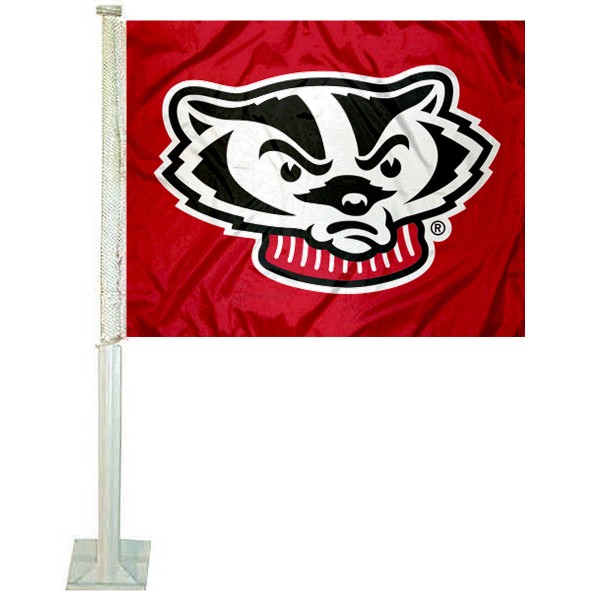 Wisconsin Badgers Bucky Car Flag measures 12x15 inches, is constructed of sturdy 2 ply polyester, and has screen printed school logos which are readable and viewable correctly on both sides. Wisconsin Badgers Bucky Car Flag is officially licensed by the NCAA and selected university.