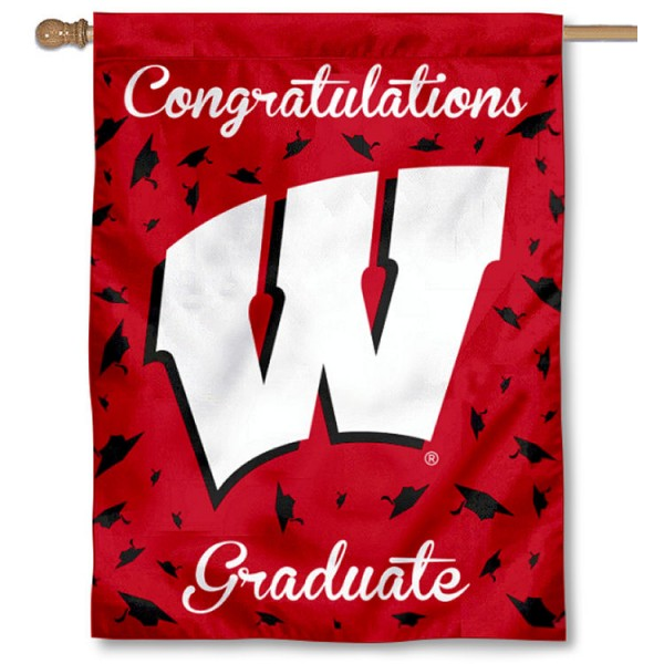 Wisconsin Badgers Congratulations Graduate Flag measures 30x40 inches, is made of poly, has a top hanging sleeve, and offers dye sublimated Wisconsin Badgers logos. This Decorative Wisconsin Badgers Congratulations Graduate House Flag is officially licensed by the NCAA.