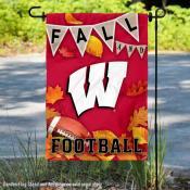Wisconsin Badgers Fall Football Autumn Leaves Decorative Garden Flag