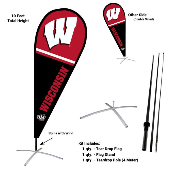Wisconsin Badgers Feather Flag Kit measures a tall 10' when fully assembled. The kit includes a Feather Flag, 3 Piece Fiberglass Pole, and matching Metal Feather Flag Stand. Our Wisconsin Badgers Feather Flag Kit easily assembles and is NCAA Officially Licensed by the selected school or university.