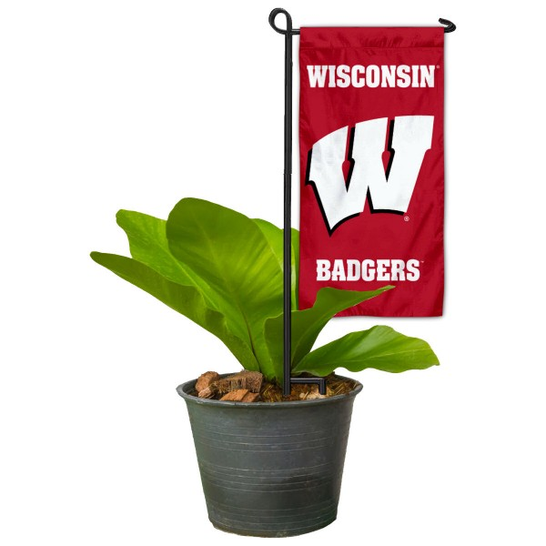 "Wisconsin Badgers Flower Pot Topper Flag kit includes our 4""x8"" mini garden banner and 6"" x 14"" mini garden banner stand. The mini flag is made of 1-ply polyester, has screen printed logos and the garden stand is made of steel and powder coated black. This kit is NCAA Officially Licensed by the selected college or university."