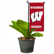 Wisconsin Badgers Flower Pot Topper Flag