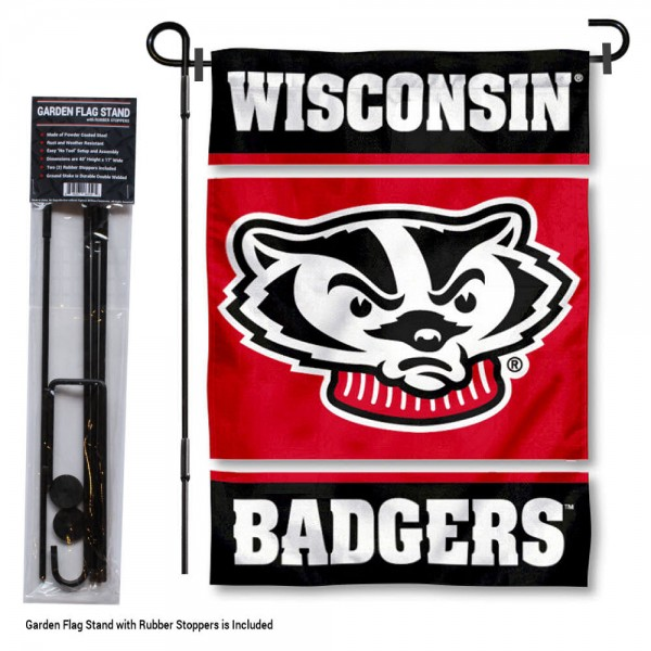 "Wisconsin Badgers Garden Flag and Stand kit includes our 13""x18"" garden banner which is made of 2 ply poly with liner and has screen printed licensed logos. Also, a 40""x17"" inch garden flag stand is included so your Wisconsin Badgers Garden Flag and Stand is ready to be displayed with no tools needed for setup. Fast Overnight Shipping is offered and the flag is Officially Licensed and Approved by the selected team."