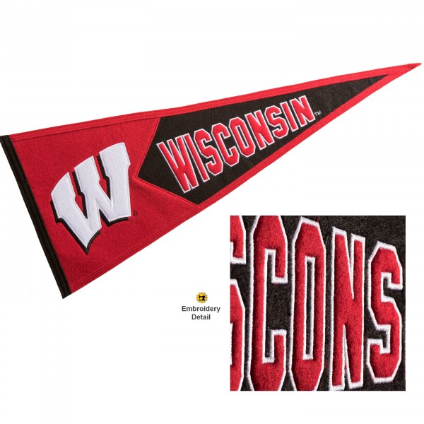 Wisconsin Badgers Genuine Wool Pennant consists of our full size 13x32 inch Winning Streak Sports wool college pennant. The logos, lettering and insignia is quality embroidered and appliqued, feature a alternate logo color header, and has sewn wool perimeter. This Wisconsin Badgers College Pennant Pennant is Officially Licensed and University Approved with Overnight Next Day Shipping.