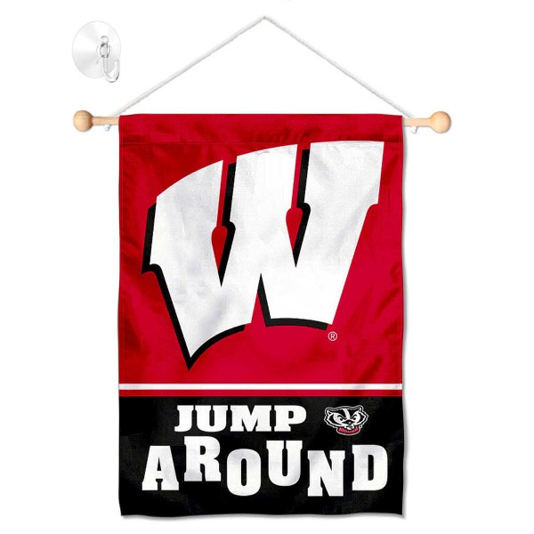 """Wisconsin Badgers Jump Around Banner with Suction Cup kit includes our 13""""x18"""" garden banner which is made of 2 ply poly with liner and has screen printed licensed logos. Also, a 17"""" wide banner pole with suction cup is included so your Wisconsin Badgers Jump Around Banner with Suction Cup is ready to be displayed with no tools needed for setup. Fast Overnight Shipping is offered and the flag is Officially Licensed and Approved by the selected team."""