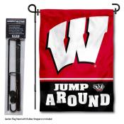 Wisconsin Badgers Jump Around Garden Flag and Pole Stand Mount