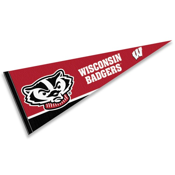 Wisconsin Badgers Logo Pennant is 12x30 inches, is made of wool and felt, has a pennant stick sleeve, and the Wisconsin Badgers logos are single sided screen printed. Our Wisconsin Badgers Logo Pennant is licensed by the university.