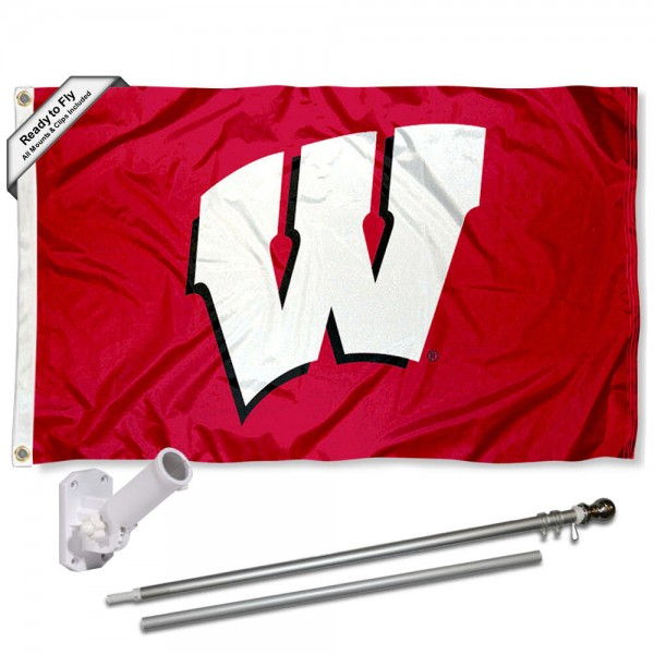 Our Wisconsin Badgers Motion W Flag Pole and Bracket Kit includes the flag as shown and the recommended flagpole and flag bracket. The flag is made of polyester, has quad-stitched flyends, and the NCAA Licensed team logos are double sided screen printed. The flagpole and bracket are made of rust proof aluminum and includes all hardware so this kit is ready to install and fly.