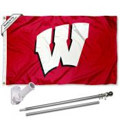 Wisconsin Badgers Motion W Flag Pole and Bracket Kit